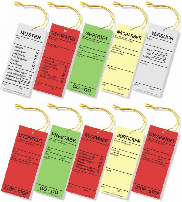Hängeetiketten aus farbigem Karton mit Schnur - viele QS-Texte