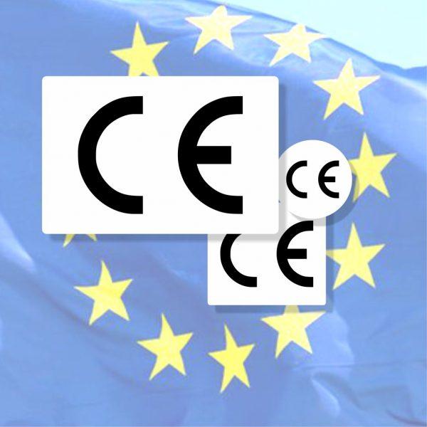 CE-Aufkleber aus Haftfolie oder Sicherheitsfolie