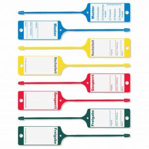 Schlaufenetiketten Kunststoff mit verschiedenen QS-Texten