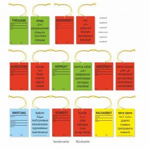 Hängeetiketten Karton mit Schnur - QS-Texte mehrsprachig