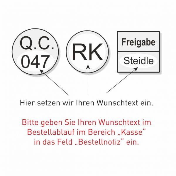 Prüferstempel mit QS-Texten