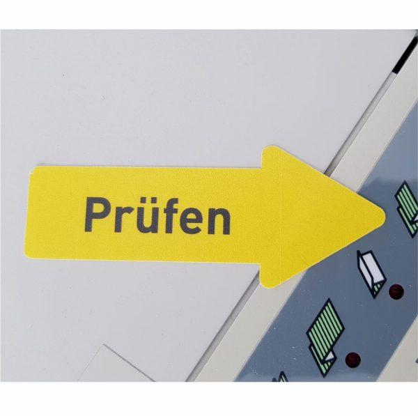 QS-Kennzeichnungspfeil Kunststofffolie gelb