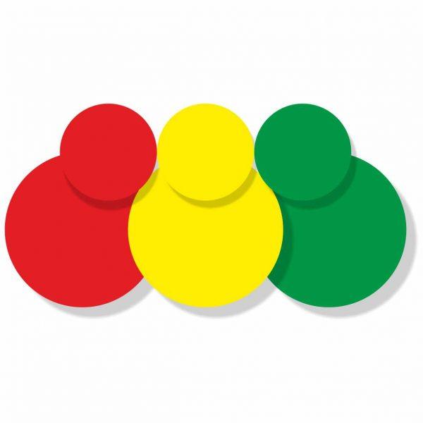 Kennzeichnungspunkte aus Haftfolie - rot, gelb, grün