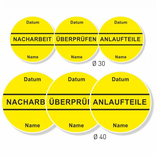 QS-Aufkleber gelb gut wieder ablösbar