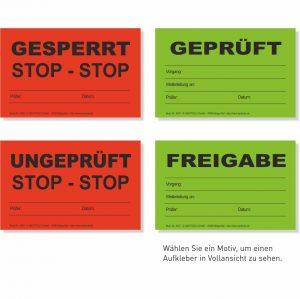 QS-Etikett Geprüft, Freigabe, Ungeprüft, Gesperrt