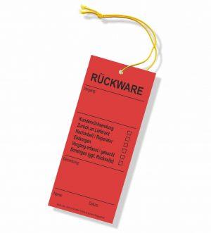 Hängeetiketten Karton mit elastischer Schnur - Rückware