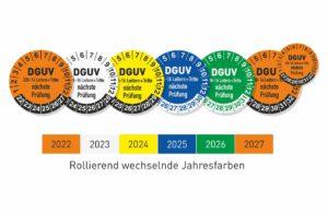 DGUV § 208-16 Leitern und Tritte Prüfplaketten mit wechselnden Jahresfarben
