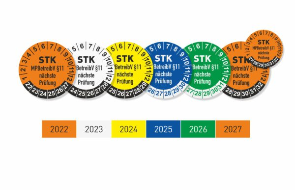 STK § 11 Prüfplaketten Ø 25 mit wechselnden Jahresfarben