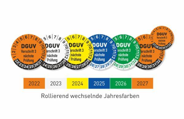 DGUV 3 DA Prüfplaketten mit wechselnden Jahresfarben