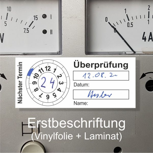 Prüfplaketten Überprüfung 20 x 50 mm - zum selbst beschriften